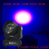 Nuevo Venta caliente 7*40W LED moviendo la cabeza de la luz de lavado de Zoom con 4en1 LEDs RGBW para producciones escénicas parte Club