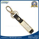 금속 반지를 가진 승진 가죽 열쇠 고리