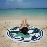 Mandala microfibre grande plage ronde mat avec des glands