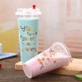 편평한 돔 뚜껑을%s 가진 처분할 수 있는 명확한 플라스틱 주스 컵