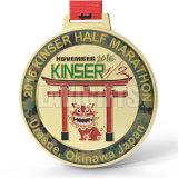 Media medalla de encargo del medallón del oro de la acabadora del deporte del maratón con las cintas