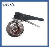 Válvula de mariposa sanitaria Ss034 de Triclamp con la maneta de la fibra