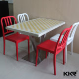 4 Seater Artificial Marble Dining Table and Chairs