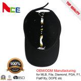 100% Algodón 6 paneles Sport gorra negra con logotipo bordado plano