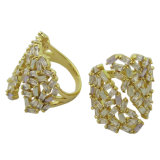 순은 반지 황금 도금된 형식 보석