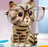 Banco de moeda do gato dos desenhos animados do ofício de Polyresin e suporte do Eyeglass