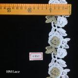 aparamento floral da tela do laço de Tulle do ouro de 6.5cm, laço Veilling do bordado da flor do vintage, traje, ofício que faz Hme821
