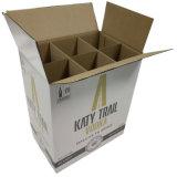 관례에 의하여 인쇄된 Kraft 종이 포도주는 판매를 위한 6 병 방부 처리한 종이 그릇 운반대를 상자에 넣는다