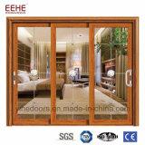 Profil en aluminium double portes coulissantes en verre intérieur