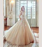 최신 판매 레이스 Champagne 결혼 예복 신부 드레스