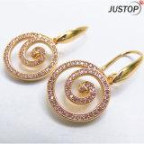 14K, Gold 18K überzogen mit E-Beschichtung Rosarhinestone-Fisch-Haken-Kreis-hängenden Ohrringen