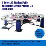 6 цвета на экране 20 станций печатной машины для T футболка