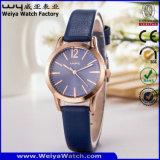De toevallige OEM van het Horloge van de Riem van het Leer van het Kwarts Horloges van Dames (wy-114D)