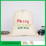 二重ドローストリングのロゴの印刷の綿の袋が付いている綿モスリンの綿の包装袋