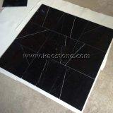 Natürlich/polierte schwarze Marquina Marmorfliese für Fußboden-/Wand-Umhüllung