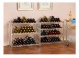 Estante de visualización plano del vino de la uva del cromo ajustable de 3 gradas