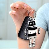 Corrente chave do robô relativo à promoção luxuoso da liga do zinco das decorações do carro do presente dos anéis chaves do negócio