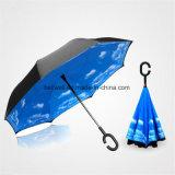 주문을 받아서 만들어진 C 손잡이 겹켜 거꾸로 한 우산 리버스 차 우산