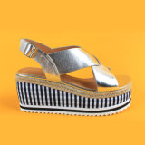 Les femmes plate-forme de filtres en coin Strappy or Jute sandales pour dame