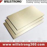L'extérieur mur composite aluminium d'administration dans la texture d'or