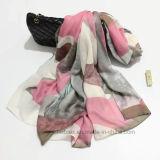 Écharpe Chiffon d'écran en soie polyester abstrait d'impression de grand (Hz223)