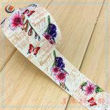 부속품을%s 새로운 디자인 실크 스크린 꽃 폴리에스테 공단 리본