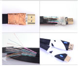 Cable de ángulo recto plateado oro el 1.5m 1.4V de HDMI