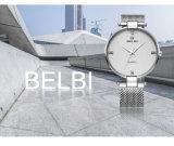 Belbi Mann-Geschäft überwacht einfache grosse Vorwahlknopf-Entwerfer-wasserdichte Quarz-Batterie-Stahlbrücke-hochwertige Armbanduhr