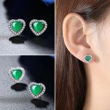 심혼 모양 귀걸이 최신 디자인에 있는 소녀 형식 순은 녹색 보석