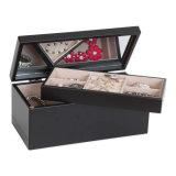 皿及びオルガナイザーの記憶のケースが付いている黒い木の宝石箱