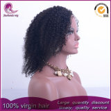 Malasia Virgen corto rizado cabello humano pleno encaje peluca