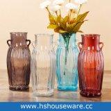 Le doppie orecchie progettano il vaso di vetro di alto colore