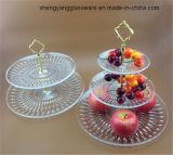 Piatto della frutta del piatto di dessert della lastra di vetro del mestiere del campione libero