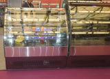 미러 스테인리스 기초는 빵집 상점에 있는 유리제 문 케이크 전시 진열장을 구부렸다