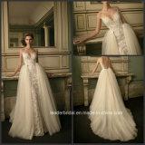 Платье Lb16254 отвесного заднего поезда Distouchable мантии венчания шнурка Bridal