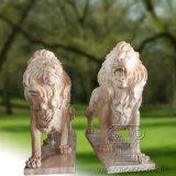 un par de escultura de la estatua de mármol del león, escultura animal