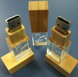 Vara de bambu de madeira 4GB 8GB 16GB 32GB do USB do cristal