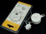 3 в 1 Retractable заряжателе кабеля USB кабеля данным по USB для мобильного телефона