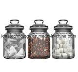 Reeks van het Geribbelde Glas van 3 van het Glas Kruiken van de Opslag voor het Bewaren van de Suiker van de Koffie van de Thee/de Reeks van de Bus van het Glas