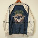 Изготовленный на заказ стильная вышитая куртка сатинировки логоса роскошная Silk