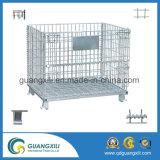 Gaiola do armazenamento do metal do rolamento do armazém 1000*800*840 com rodas
