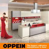 Style britannique laque jaune gris des armoires de cuisine des îles de mélamine (OP15-058)