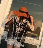 Nette reizvolle Spitze der Frauen weg von Spitze-Kittel-Oberseite-Bluse des Schulter-Getreide-Hemd-S lange Hülse überlagerter