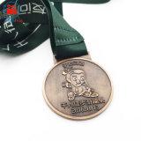 Cuivre antique image Double médaille de métal à pied