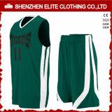 El conjunto barato del uniforme del baloncesto de los hombres verdes modifica para requisitos particulares