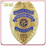 Emblema de chapelão da polícia chapeado de ouro 3D gravado personalizado
