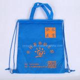 Saco de drawstring não tecido personalizado impresso para compras promocionais e compras