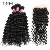 Closure Human Hair 4*4 Free Part Lace Closure 3bundles Remy Hair를 가진 9A 브라질 Deep Wave Bundles