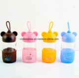 Glaswasser-Flasche mit Deckel für trinkenden Saft