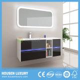 A luz de LED azul quatro gavetas espelho arredondados armário de banheiro HS-M1128-1000